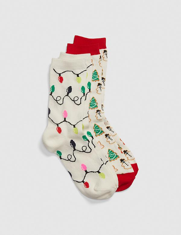 Festive and Lights Crew Socks - 2-Pack
