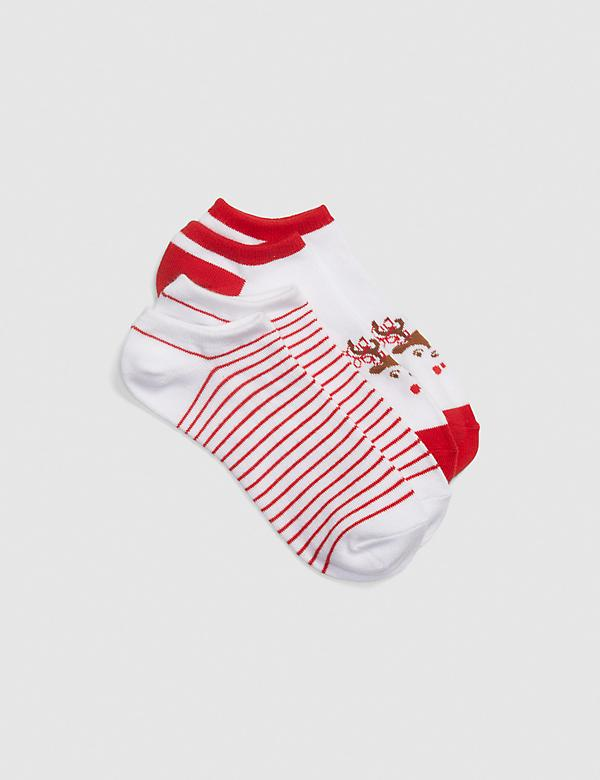 2-Pack Ankle Socks - Stripes & Reindeer