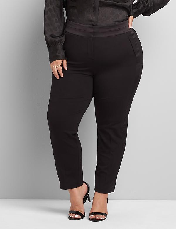 Signature Fit High-Rise Ponte Tuxedo Ankle Pant With Satin Trim
