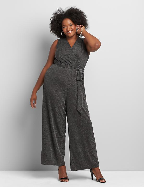 Crossover Metallic-Striped Jumpsuit