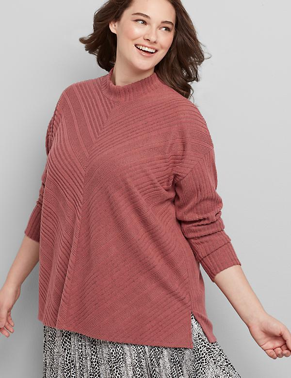 Mock-Neck Miter-Stripe Top