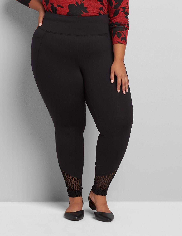 Lane Bryant Women's 7/8 Power Legging With Wicking - Textured Mesh At Hem 18/20 Black