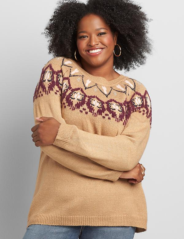 Crew-Neck Fair Isle Yoke Sweater