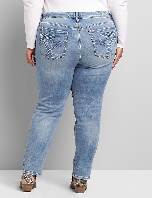 Seven7 Low-Rise Straight Jean - Ripped Light Wash