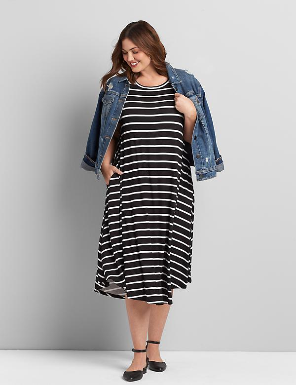 Striped Short-Sleeve Swing Dress