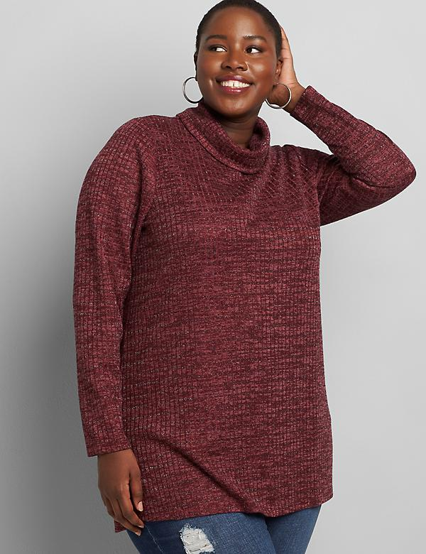 Sparkle Turtleneck Tunic Top