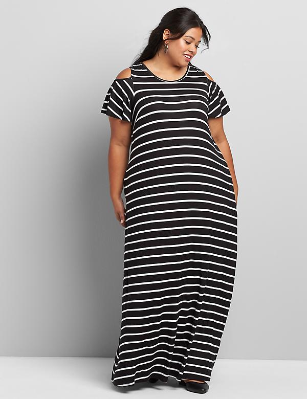 Striped Cold-Shoulder Maxi Dress