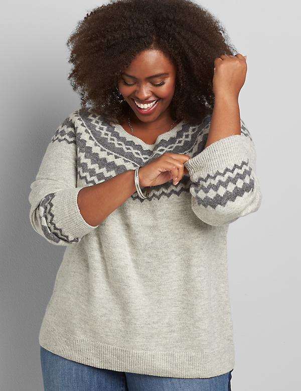 Crew-Neck Fair Isle Sweater