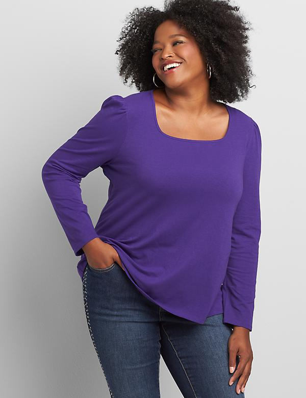 Square-Neck Long-Sleeve Tee