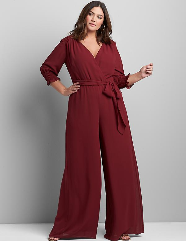 Crossover 3/4-Sleeve Chiffon Jumpsuit