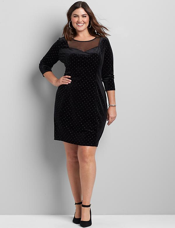 Mesh-Yoke Velvet Sheath Dress