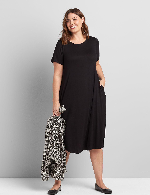 Lane Bryant Women's Short-Sleeve Swing Dress 10/12 Black