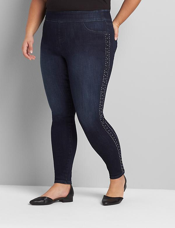 Signature Fit High-Rise Pull-On Jegging - Stud Embellished Dark Wash