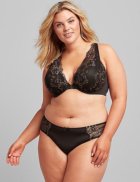 Lace Front-Close Boost Plunge Bra