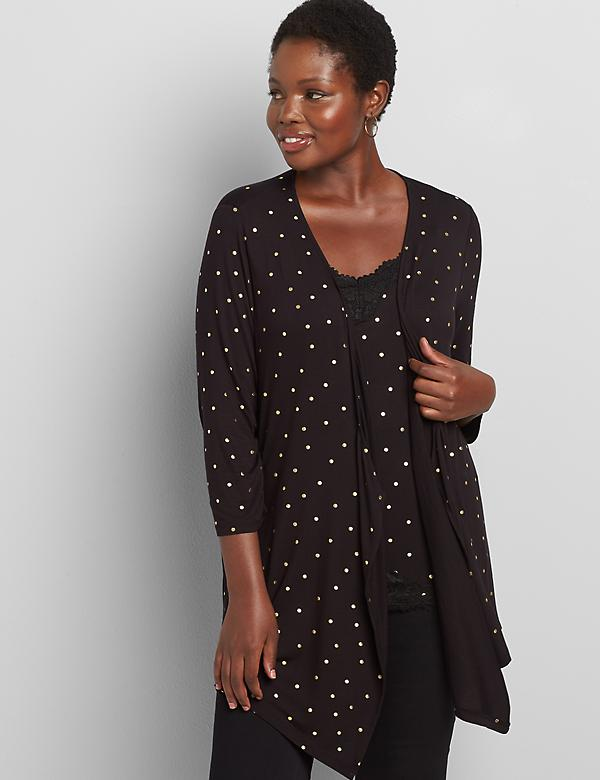 Lane Essentials Drape-Front Cardigan