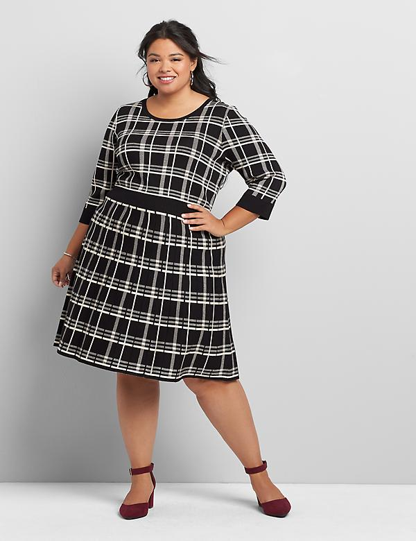 Plaid 3/4-Sleeve Fit & Flare Sweater Dress