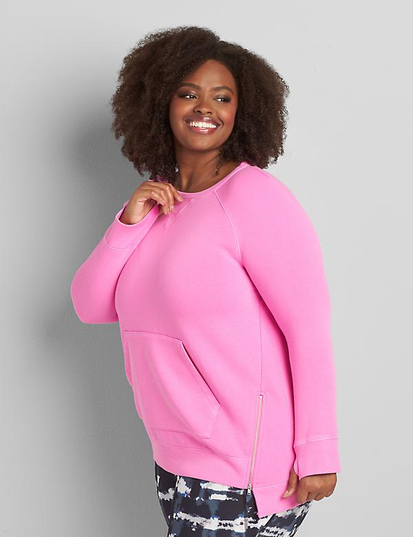 LIVI French Terry Zip-Hem Tunic Sweatshirt
