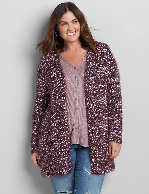 Open-Front Long Cardigan with Textured Yarn