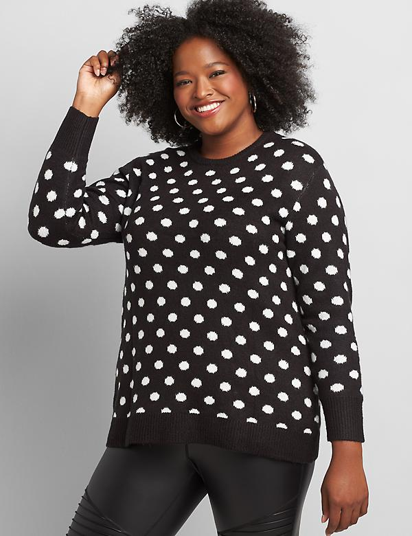 Dot Jacquard Print Pullover Sweater