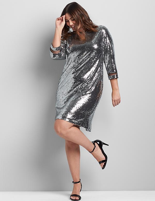 Boatneck Sequin Sheath Dress