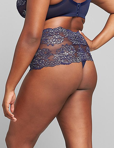 Metallic Lace Wide-Side Thong Panty