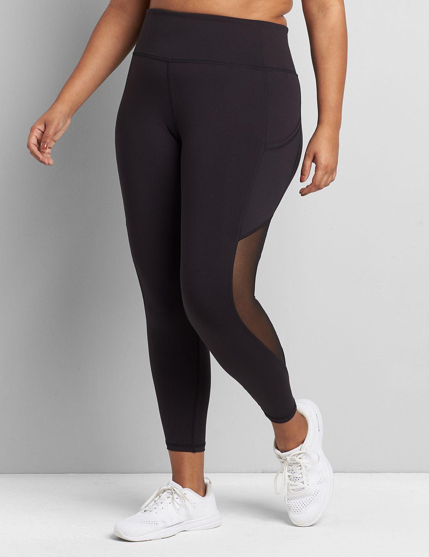 lane bryant women's livi 7/8 power legging - lace side 14/16 black