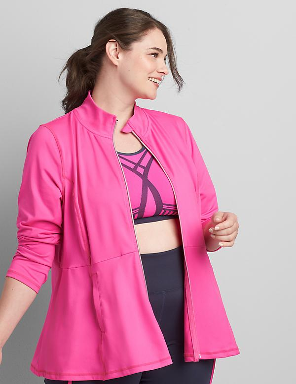 LIVI Zip-Front Peplum Jacket with Wicking