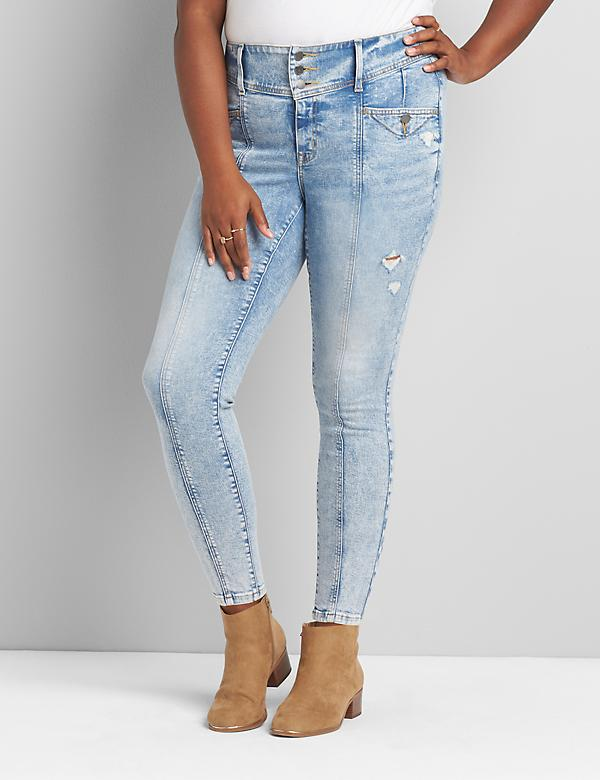 High-Rise 3-Button Jegging - Light Wash