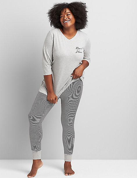 3/4-Sleeve Tee & Legging PJ Set