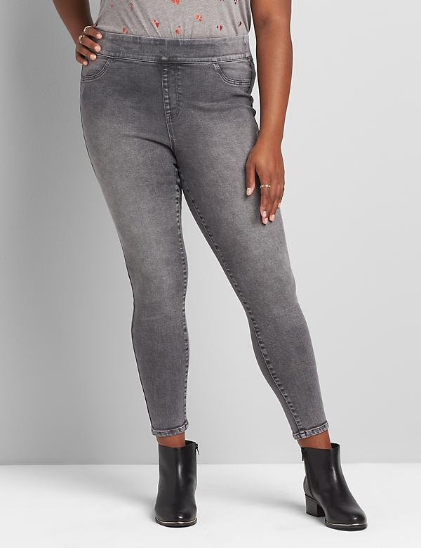 Pull-On High-Rise Jegging - Gray