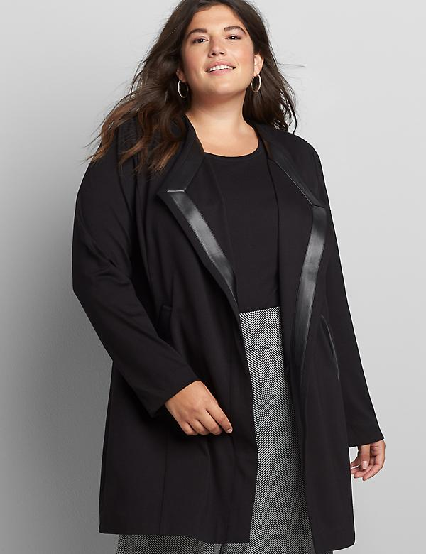 Open-Front Ponte Overpiece - Black