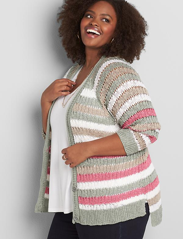 Striped Button-Front Pointelle-Stitch Cardigan