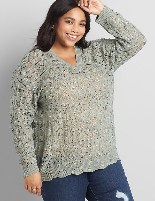Pointelle Double V-Neck Pullover Sweater