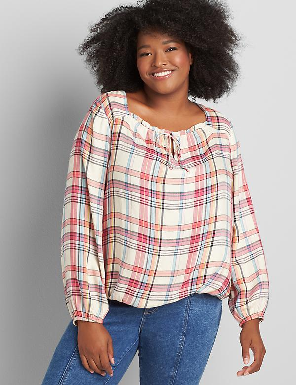 Square-Neck Plaid Blouse