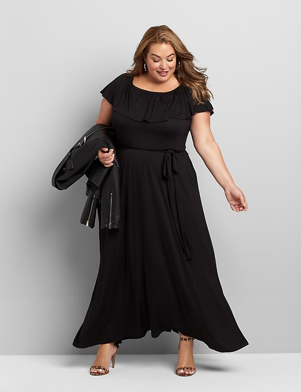 Convertible Off-The-Shoulder Belted Maxi Dress