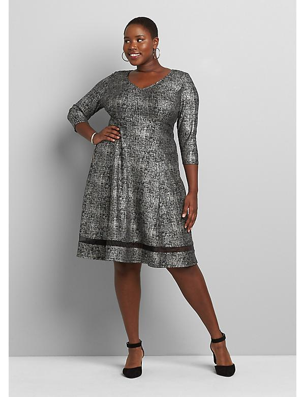3/4-Sleeve Textured Fit & Flare Dress With Mesh Hem