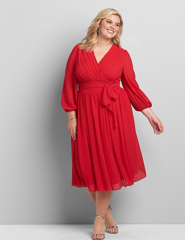 Crossover 3/4-Sleeve Midi Dress