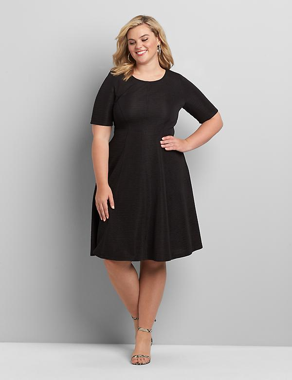 Perfect Sleeve Textured Fit & Flare Dress