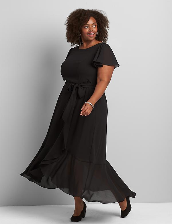 Flutter-Sleeve Ruffle Midi Dress