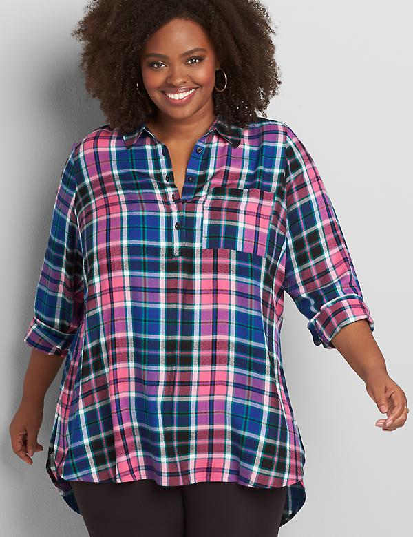 Plaid Popover Tunic Top