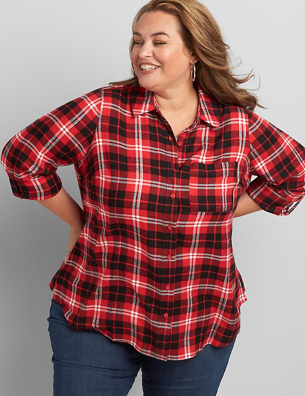 Plaid Button-Front Boyfriend Shirt With Metallic Threading