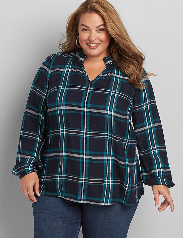 Plaid Shirred-Neck Top