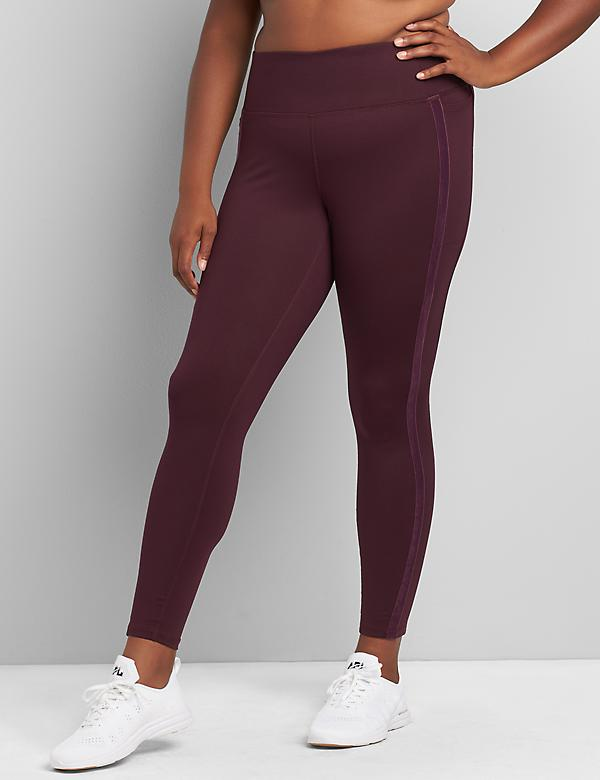 LIVI 7/8 Power Legging With Wicking - Velour Side Stripe