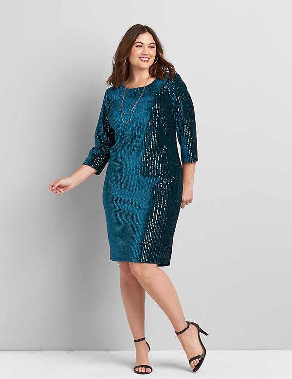 Velvet & Sequin Sheath Dress