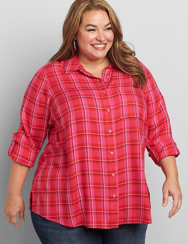 Plaid Button-Front Boyfriend Shirt