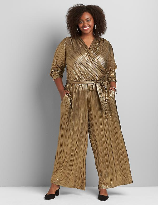 Gold Metallic Crossover Jumpsuit