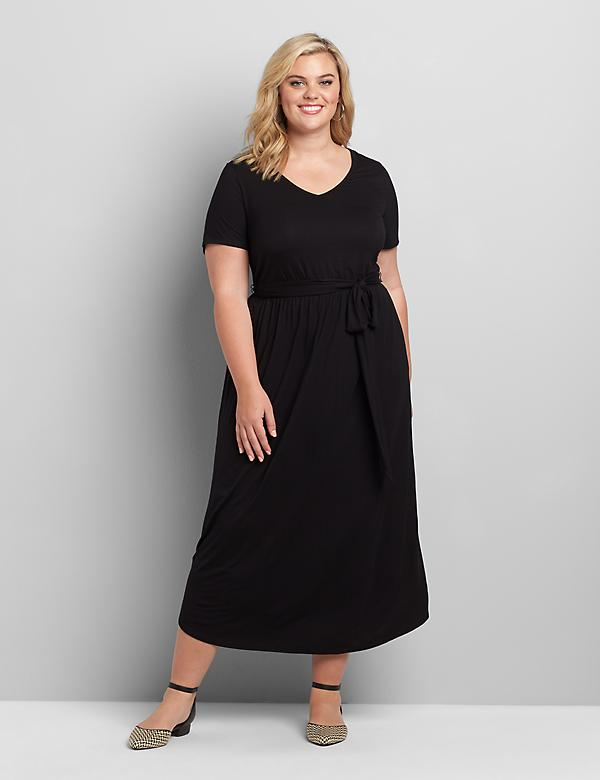 Curved-Hem Maxi Dress