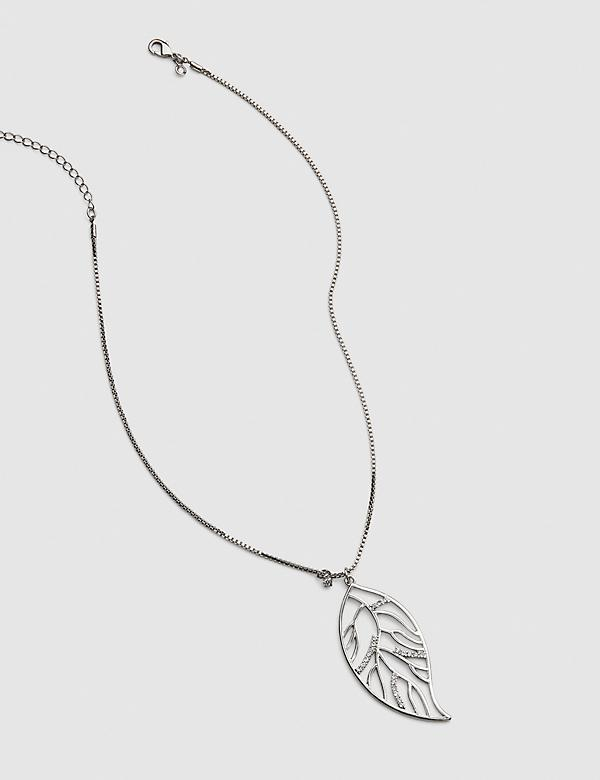 Sparkle Leaf Pendant Necklace