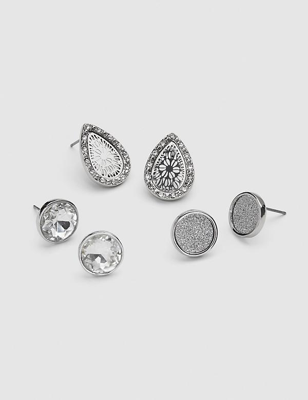 Pave & Faceted Stone Stud Earrings 3-Pack