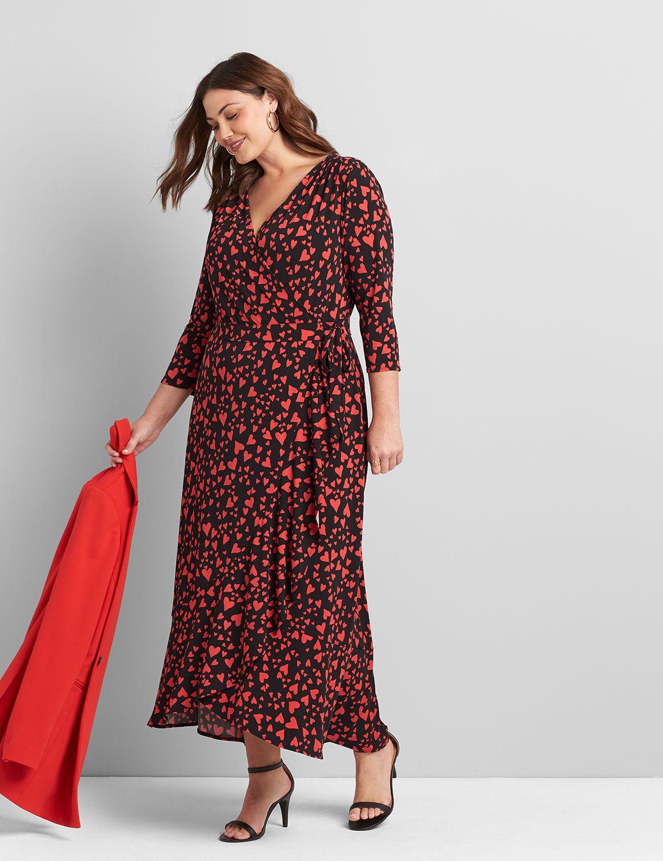 Lane Bryant Women's Printed Faux-Wrap Midi Dress 10/12 Lbh20226 Floatinghea